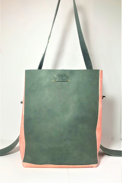 Ortia Tote in Dove Grey and Pale Pink Croc.