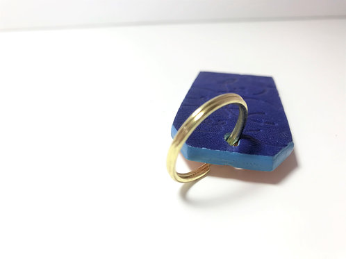 Printed Bold Blue & Nude with Blue Edge Key Fob.