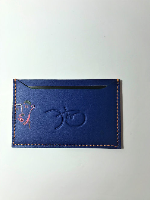 Bold Blue & Face Drawing Cardholder 'Type 1'