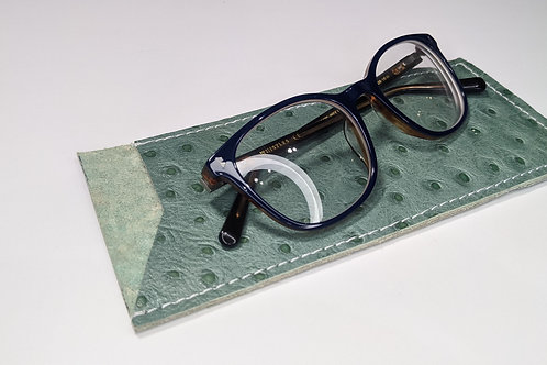 Sage Green With white Stitch Glasses Case.