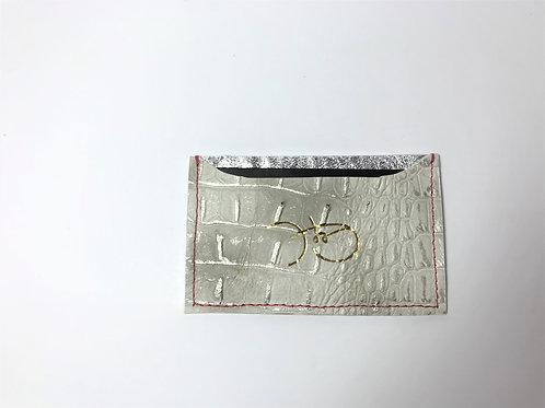 Metallic Pearl Croc & Silver Cardholder 'Type 1'