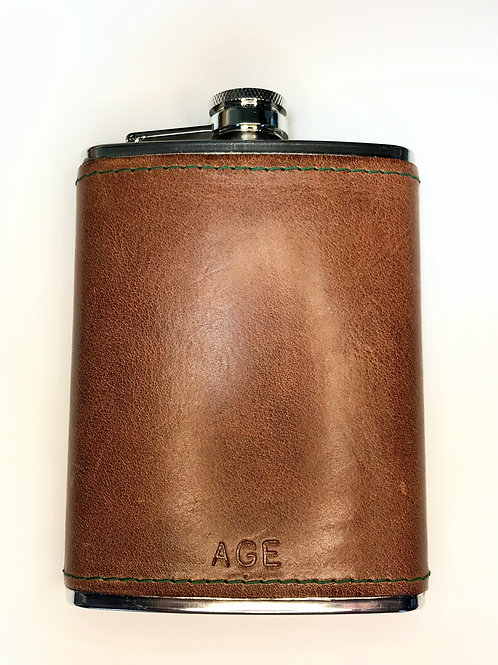 Bespoke Leather Covered Hip Flask.