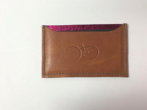 Smooth Brown & Metallic Pink Cardholder 'Type 1'