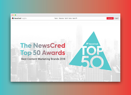 The NewsCred Top 50 Awards Micro Site Landing Page