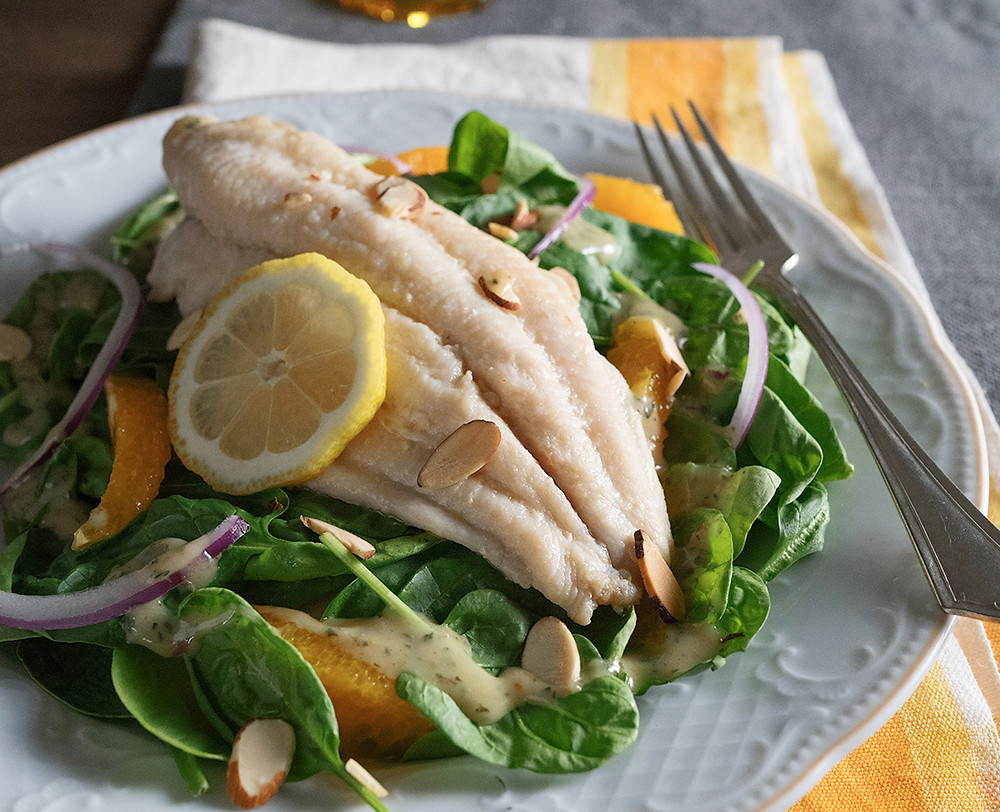 Lemon Poached Catfish With Spinach Citrus Salad