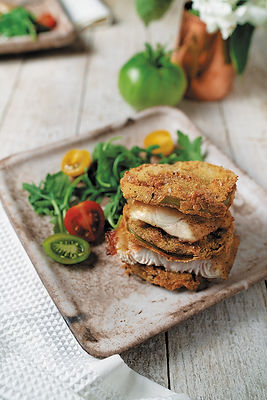 Catfish Napoleon With Fried Green Tomatoes