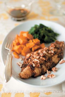 Sweet Bourbon-Glazed Catfish With Pecans