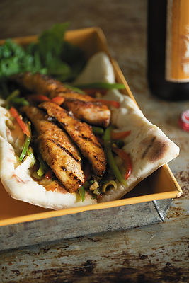 Sweet And Sour Grilled Catfish Flatbread Sandwich