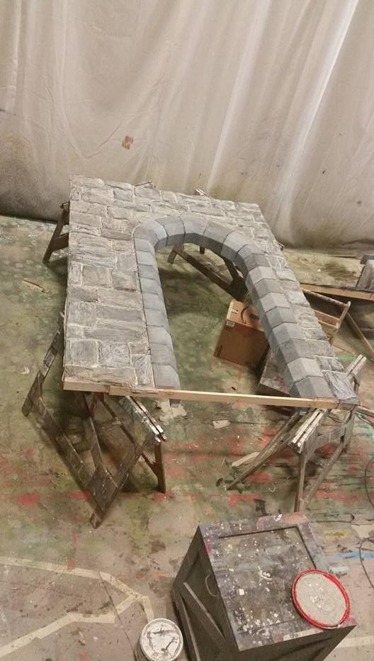 paper mache stone wall, foam stone arch