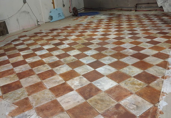 Dry floor after dirtying and ageing