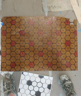 hex tile stencil layout