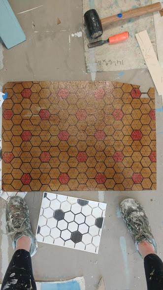 hex tile stencil layout