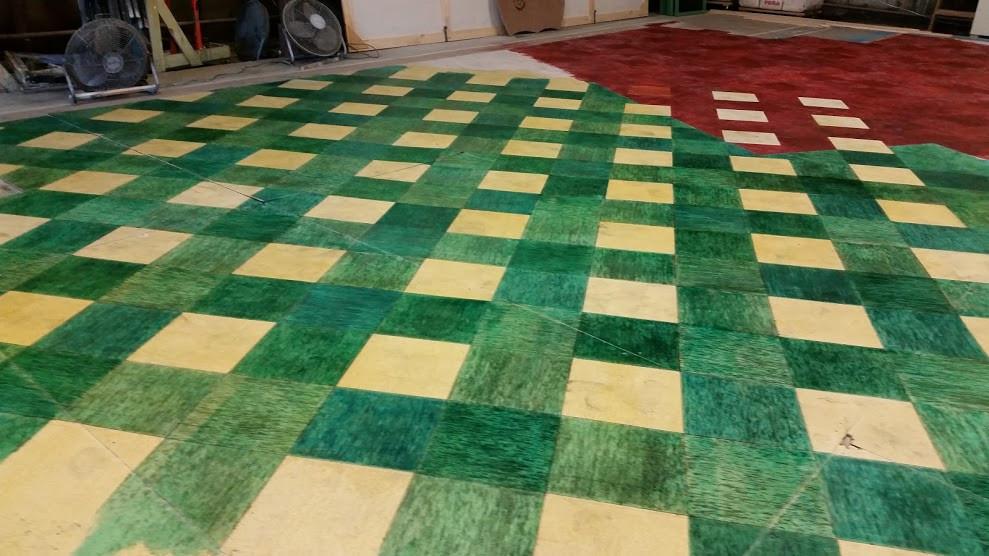 Linolium tile treatment in progress
