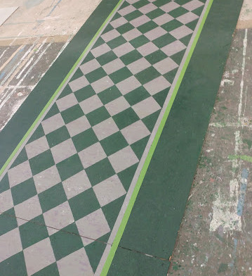 Green and Grey square tile