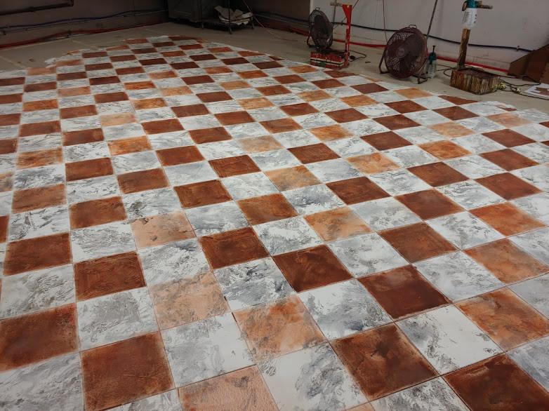 Tiles glazed red based on rendering