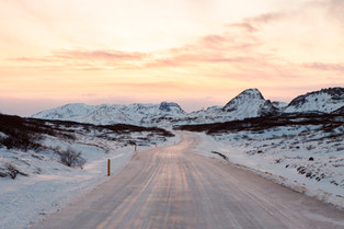 Icey highland road in Iceland