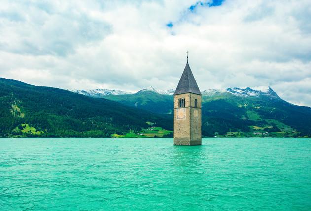 Resia Lake Sunken Tower