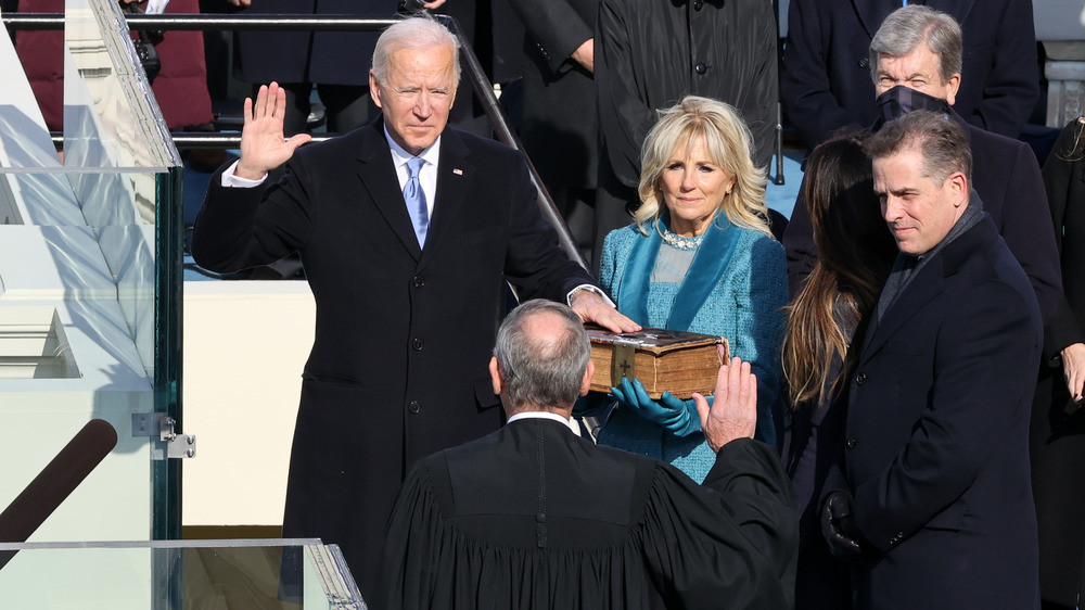 President Biden inauguration taking oath. Alex Wong/Getty Images