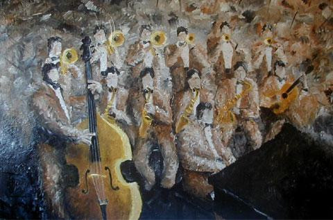 1999. Large jazz band.  Acrylic on canvas. 60 x 72 inches (1 inch = 2.54 cm). Not available. Private collection, San Salvador, El Salvador.