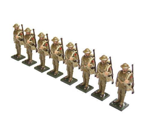 Set 70 - WWI Troops, in tin helmet, at attention, rifle over shoulder.