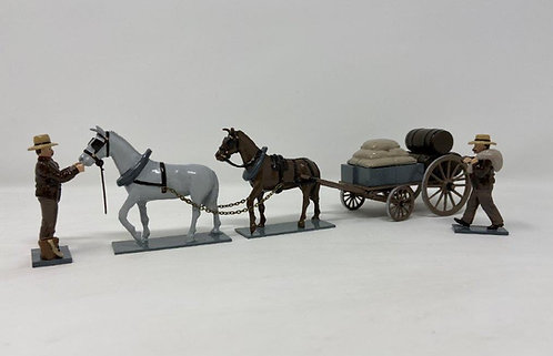 Set 217 - 4 Wheeled Mule Cart with Two Figures