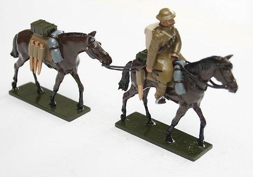 Set 110, WWI Mounted figure leading packhorse.