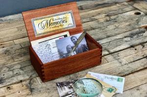 polaroid pictures in memory box