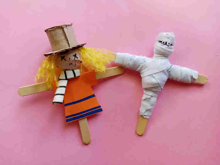 halloween popsicle stick mummy  and scarecrow