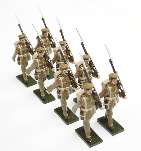 Set 54, WWI Soldiers, in peaked cap, marching.