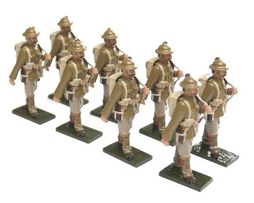 Set 75, WWI Troops, Highland Regt., in tin helmet, marching, rifle over shoulder