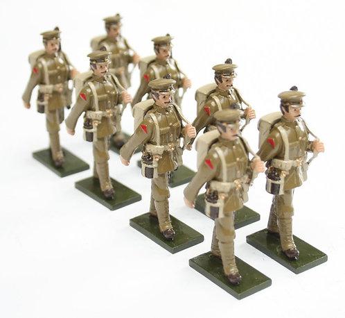 Set 73, WWI Troops, in peak cap, marching, rifle slung over shoulder.