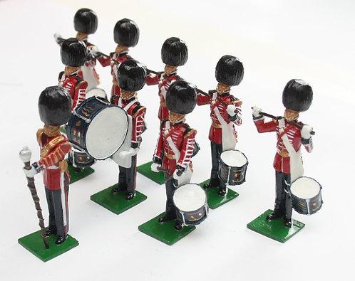 Set 115, Scots Guards Drum Corps, standing, 9 piece.
