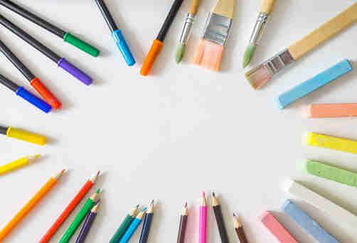 felt pens color pencils chalk crayons paint brushes
