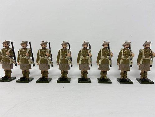 Set 76 - WWI Highlanders in Bonnets at Attention, Rifles Slung Over Shoulder