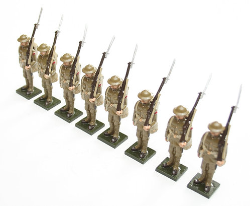 Set 51, WWI Soldiers, in tin helmet, at attention.