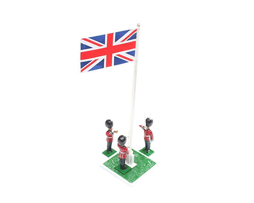 Set 34, Scots Guards Reveille, 3 figures with flagpole.