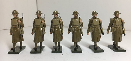 OTF 5, WWI troops in trench coat, marching. 