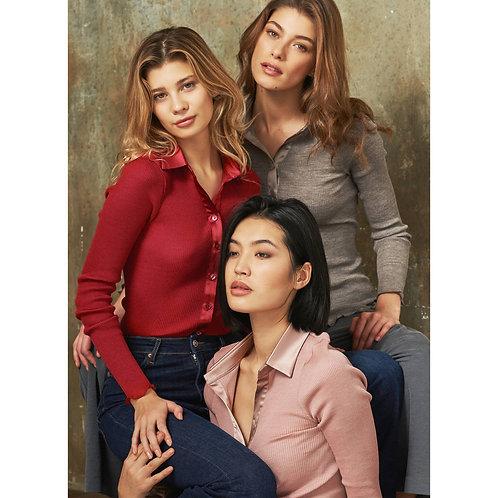 Gilet col chemise en laine et soie Cortina | Oscalito