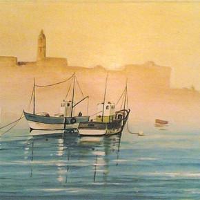 alba_al_porto_di_Malta__olio_su_tela__cm