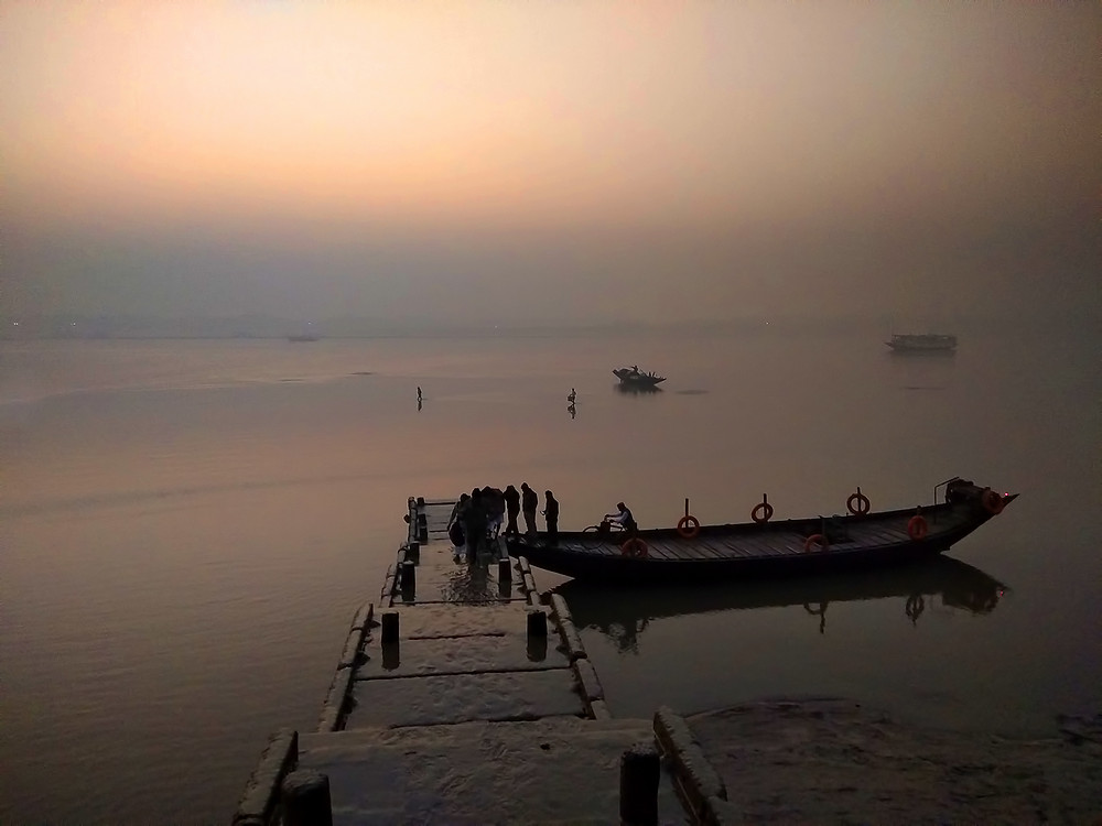 Low tide at Gadkhali Ferry Ghat, boats stranded in the silt