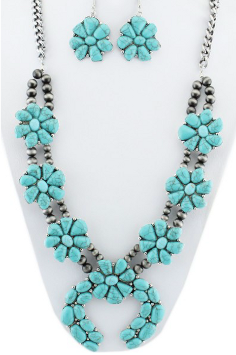 Turquoise and Silver Squash Blossom Set