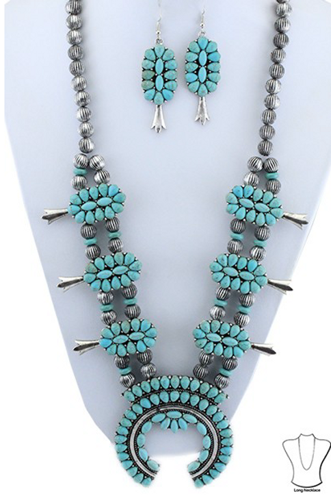 Long Turquoise and Silver Squash Blossom Set