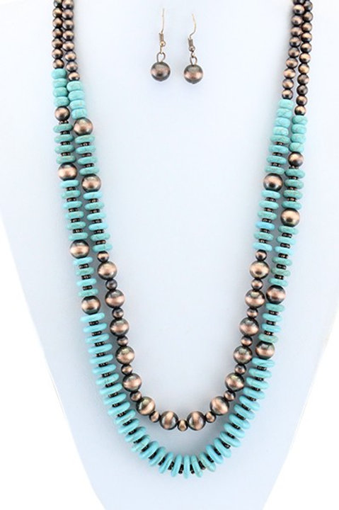 Long Layered Turquoise and Copper Necklace
