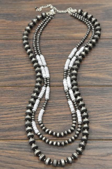 Navajo Pearl and White Bead Multi-Strand