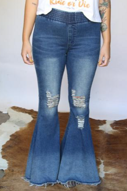 Smocked Distressed Bell Bottoms
