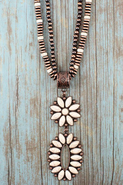 Long Copper and Ivory Pendant Necklace