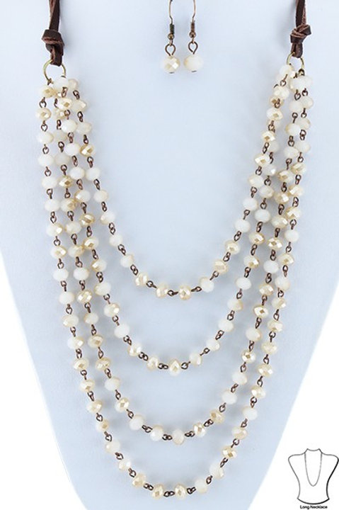 Cream Crystal Layered Necklace on Leather Strap