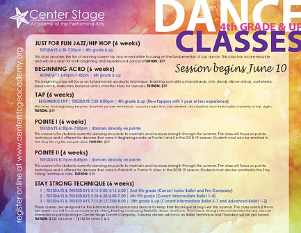 Summer 2019 Big Kids Dance Classes