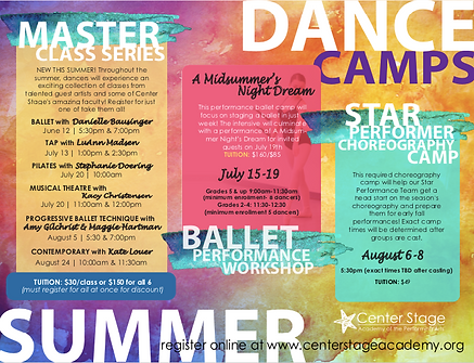 Summer 2019 Big Kids Dance Camps