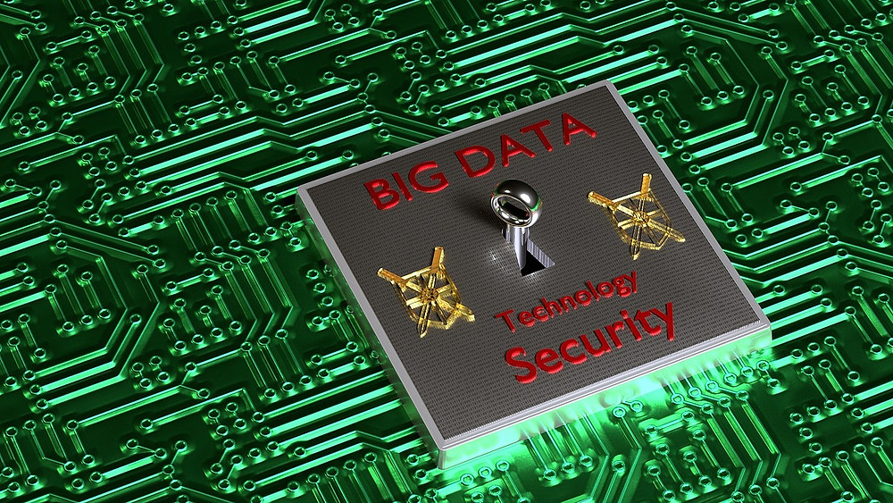 Big data, technology and security chip set on PCB.